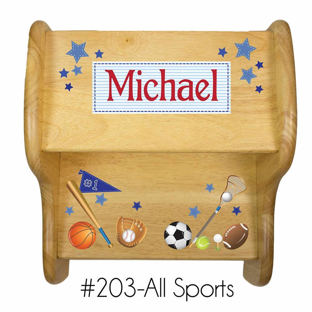 Personalized Wooden Sports Step Stool MyBambino FIXE-NAT-203-PT