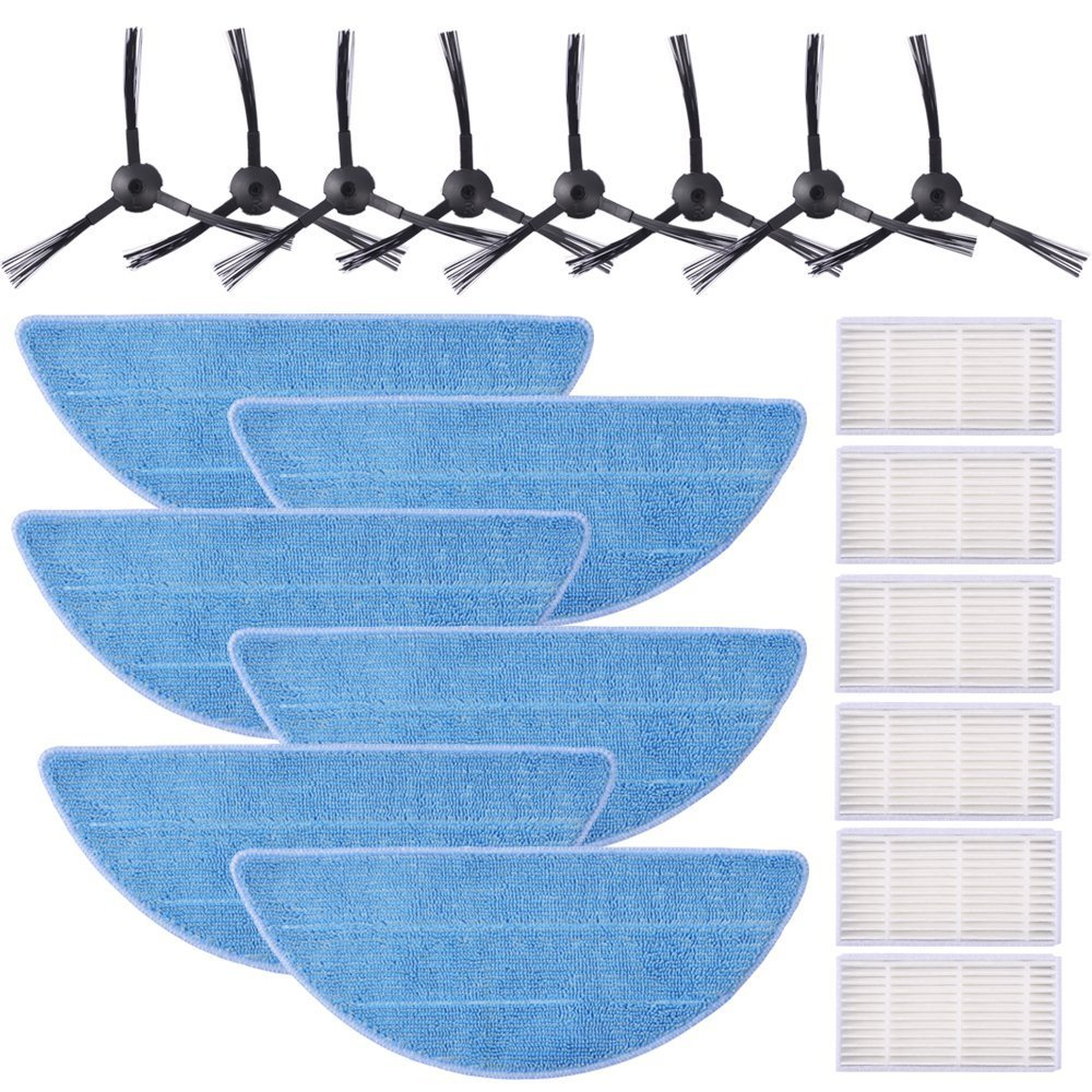KEEPOW 20 Pcs Accessories Replacement Part Kits for ILIFE V5s, V5s Pro, V3s, V3s Pro Robot Vacuum (Included 8 Side Brushes + 6 Mop Pads + 6 Filters)