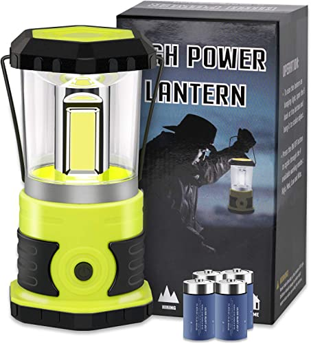 LED Camping Lantern, COB Battery Lantern 4D Batteries Included 1800LM, 4 Light Modes, Water Resistant Emergency Lantern Perfect for Power Outage, Hurricane, Hiking, Fishing