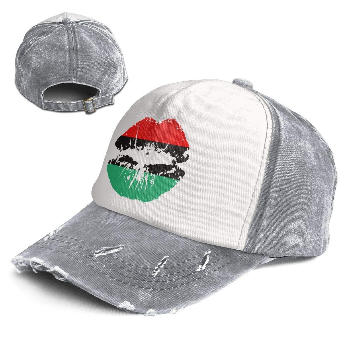 f4a0544ba38 Amazon.com  QZDLq Fashion Vintage Hat Pan American African Heritage Logo  Color Lips Adjustable Dad Hat Baseball Cowboy Cap  Clothing