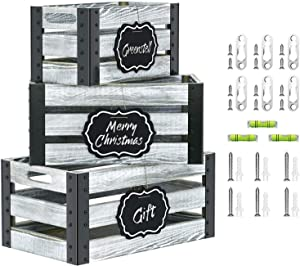 Greenstell Rustic Grey Wooden Crate with Cutout Handle and Hanging Chalkboard, Decorative Farmhouse Display Wood Storage Crate Box, Nesting Accent Crate for Storing Fruit, Milk, Beer, Toys Set of 3