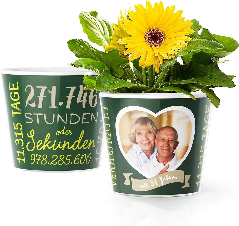 31. Hochzeitstag Geschenk - Blumentopf (ø16cm