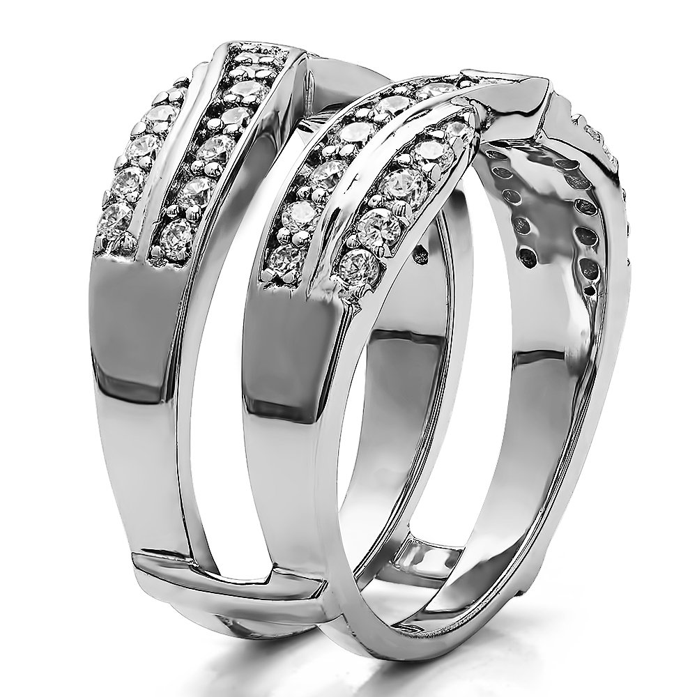 TwoBirch 0.74 ct. Cubic Zirconia Infinity Bypass Engagement Ring Guard in Sterling Silver (0.74 ct. twt.) by TwoBirch (Image #2)