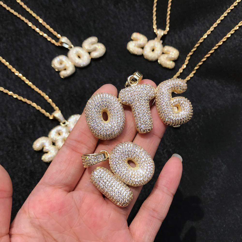 Junmei Custom Bubble Letter Pendant Personalized Unisex Hip Hop Cubic Zircon Initial Necklace Gold Silver Chain
