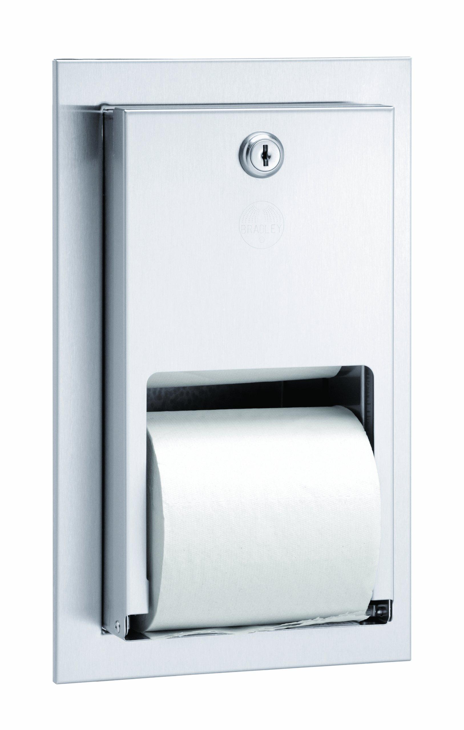 Bradley 5412-000000 22 Gauge Stainless Steel Recessed Mounted Stacking Rolls Toilet Tissue Dispenser, 5-5/8'' Width x 10-3/8'' Height x 5-5/16'' Depth