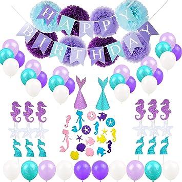 amazon com hankrobot mermaid balloons party supplies 65 pack happy