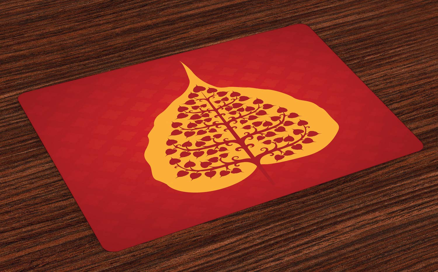 Ambesonne Leaf Place Mats Set of 4, Design of Bodhi Tree Nature and Yoga Meditation, Washable Fabric Placemats for Dining Table, Standard Size, ...