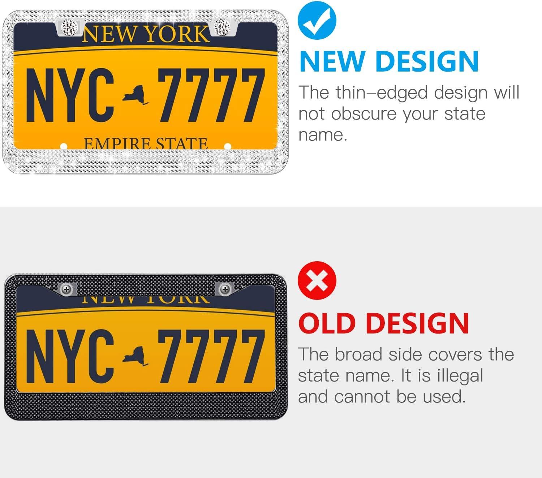 ZHSX White Rhinestone Bling License Plate Frame for Women Luxury Handmade Glitter Diamond License Plate Frames with Screw Caps