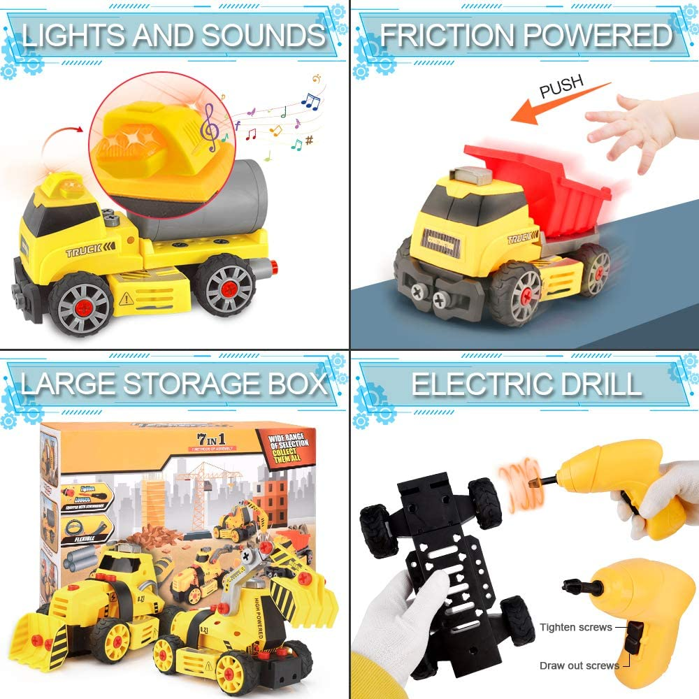 7-in-1 DIY Take Apart Truck Car Toys With Electric Dill,Educational Toy and Ideal Gift for Boys and Girls Age of 3 4 5 6 7 8 Constitution Engineering STEM Learning Toys Building Play Set for Kids