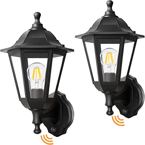 FUDESY 2-Pack Motion Sensor Exterior Light Fixture,Plastic Front Porch Light with 8W Edison Filament Bulbs,Waterproof Outdoor Lanterns for Garage,Yard,Patio,FDS616EPIRB2