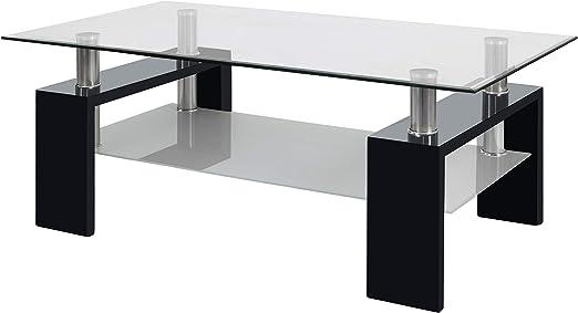 duehome Mesa Centro Moderna de Cristal, Mesita Salon, Color Negro ...