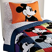 Ethan Allen   Disney  Color Block Mickey Mouse Quilt, Twin, Multicolor