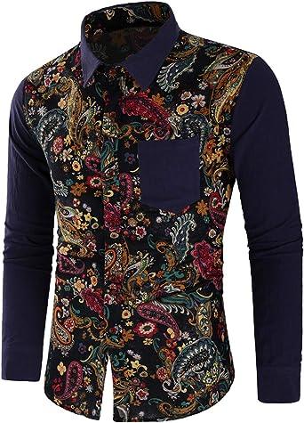 Camisa clásica para los hombres, camisa de manga larga para hombres, Camisa estampado de flores de algodón azul marino XL Estilo Novedad de 2018: Amazon.es: Ropa y accesorios