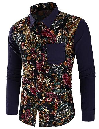 Zehui Camisa clásica para los hombres, camisa de manga larga para hombres, Camisa estampado de flores de algodón Estilo Novedad de 2018: Amazon.es: Ropa y ...