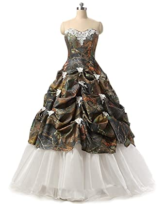 Camouflage Wedding Dresses.Wensai Women S Sweetheart Ball Gown Appliques Camouflage Wedding