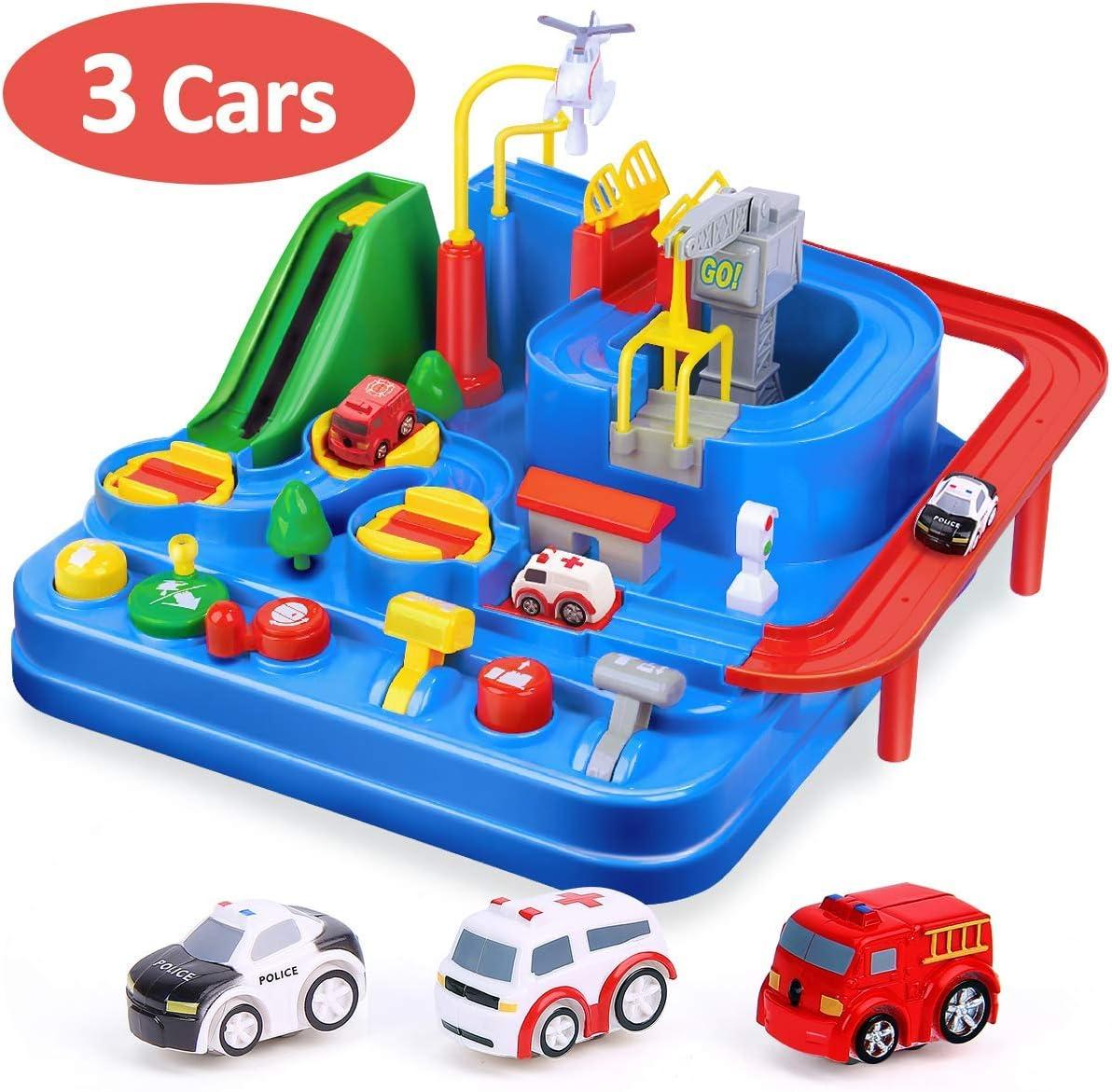 CubicFun Pista de Coches para Niños 3 4 5 6 7 8 años, City Rescue Pista Cars Juguetes de Aventura Playsets, Pista Coches de Juguetes para Niños Niñas