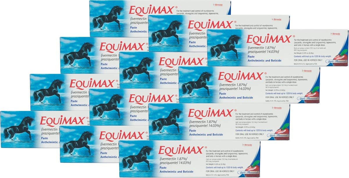 (12 Pack) Bimeda Equimax Horse Wormer Ivermectin 1.87 Percent and Praziquantel 14.03 Percent Paste Tube