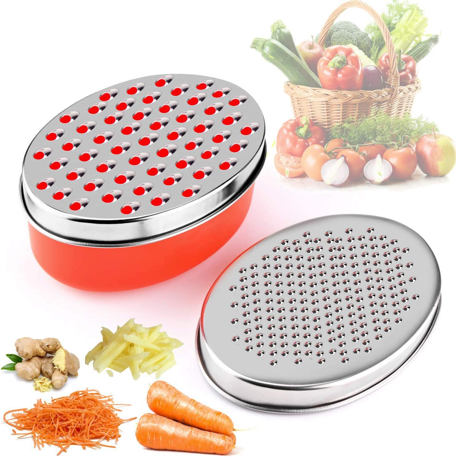 Cheese Graterwith Food Saver Container & Lid Fruit Vegetable Chopper(Red)