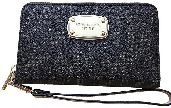36ed84f76386 ... Case coin purse 32T6MTVD1M Pale Gold Michael Kors Womens Large Jet Set  Smartphone Wristlet Leather Wallet Black ...