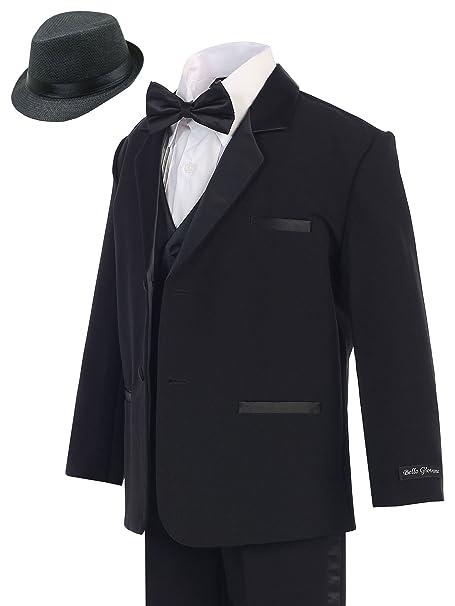 c0bbf638475d2 Bello Giovane Boy Black Formal Tuxedo No Tail (Free Fedora Size 3 to ...