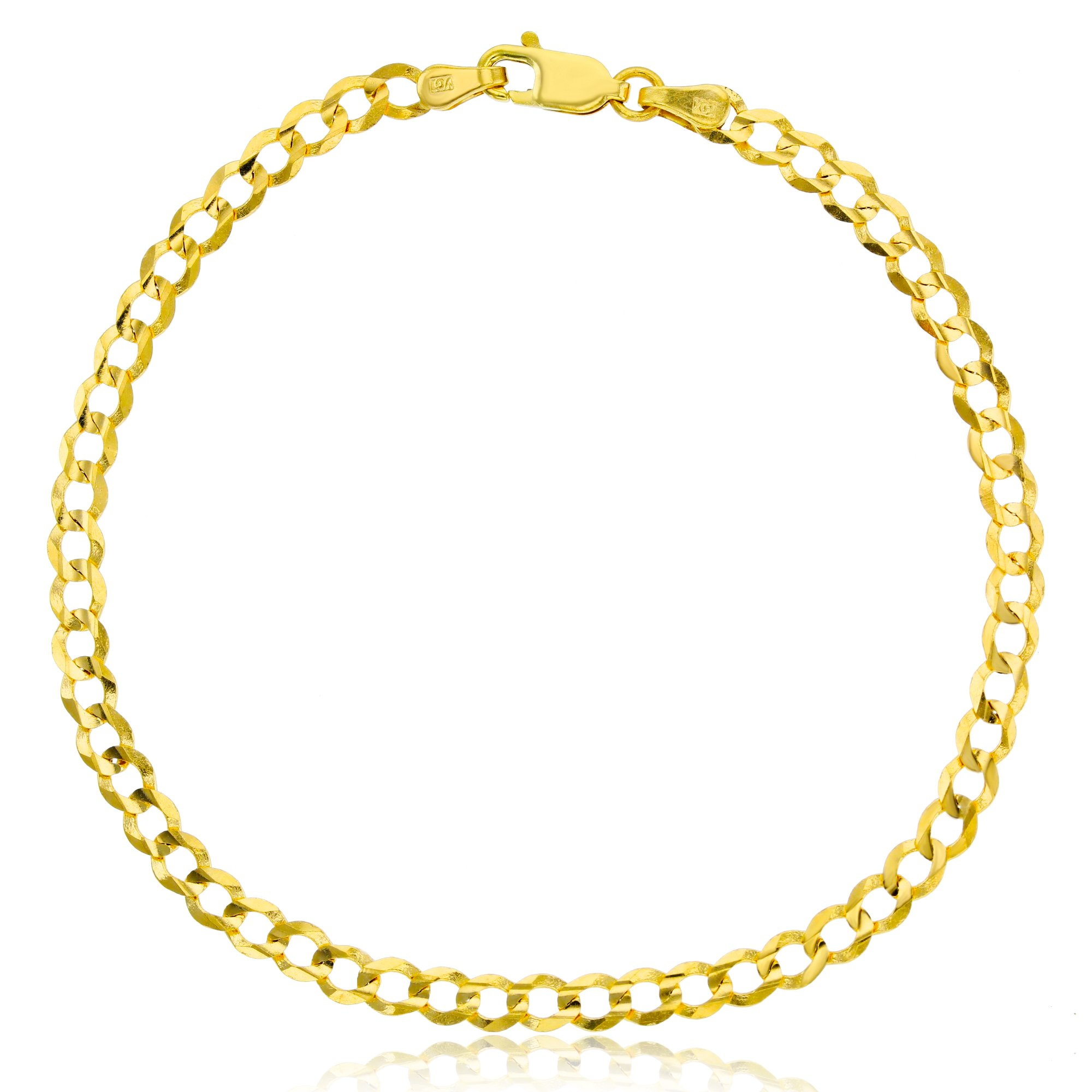 14K Gold Yellow 3.80MM 8'' Cuban 100 Bracelet