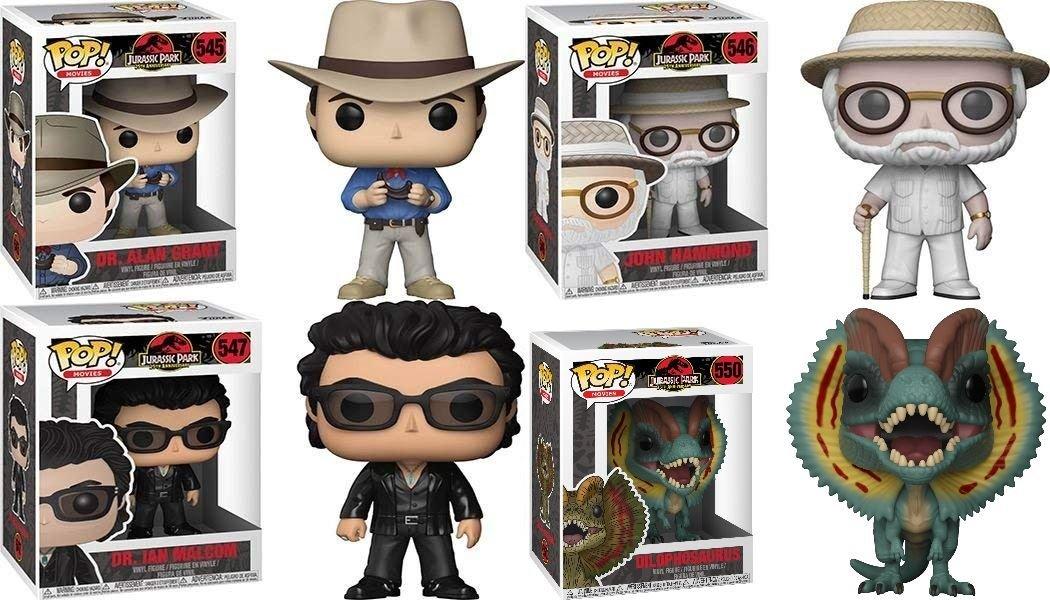 Funko POP! Jurassic Park: Alan Grant + Hammond + Malcolm + Dilophosaurus Set NEW: Amazon.es: Juguetes y juegos