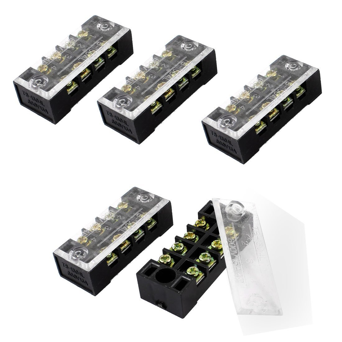 SODIAL(R) 5 Pcs Dual Row 4 Position Covered Screw Terminal Block Strip 600V 15A 035700