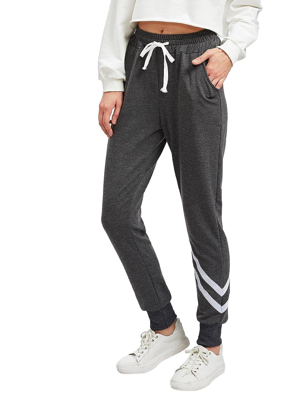 SweatyRocks Women Pants color block Casual Tie Waist Yoga Jogger Pants Grey XL