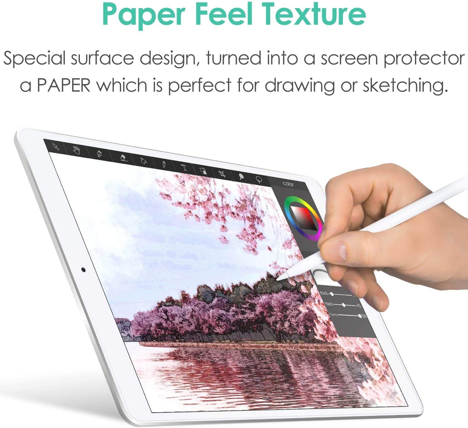 // Drawing iPad PRO ELECOM-Japan Brand- Paper-Feel Screen Protector Compatible with 10.5 inch iPad//iPad Air Anti Glare Scratch Resistant//Smooth Type//TB-A19PS105-W 2019 2017
