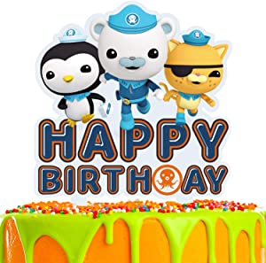 Sea Cartoon Cake Topper Happy Birthday Under the Sea Adventure Theme Decor for Baby Shower Birthday Party Decorations Supplies Acrylic