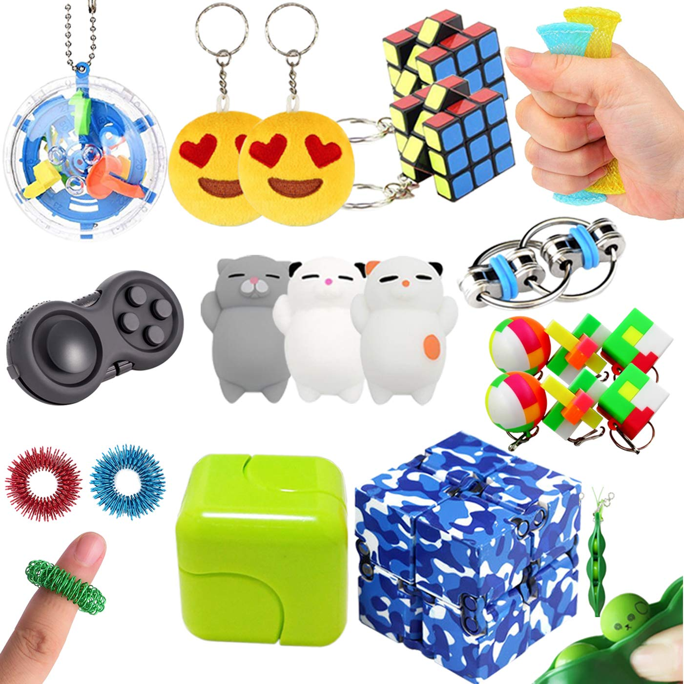 Leeche 23 Pack Sensory Toys for Kids Handheld Fidget Toys Bundle for Christmas Stocking Stuffers Infinity Cube Fidget Ring Squishies Toys Autism Toys for Add ADHD