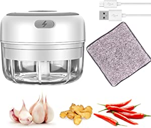 Electric Mini Garlic Chopper, Handheld Wireless Mincer, baby food grinder, Portable Cordless Food processor, Powerful Food Blender machine for garlic vegetable Pepper Nuts(White 100ML)