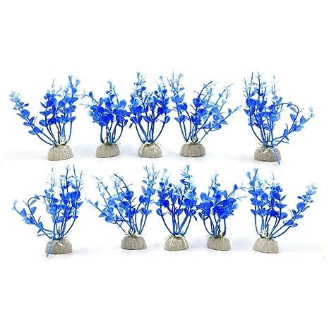 sourcing map Sourcingmap® 10Pcs Azul De Plástico Peces De Acuario Tanque Hojas De Algas Marinas