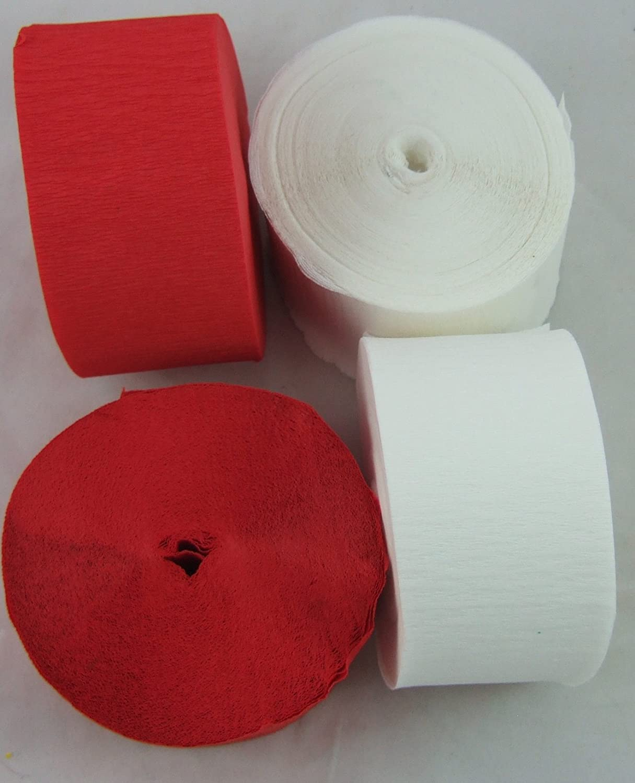 2 rotoli di carta crespa gigante rossa e 2 bianchi, 45mm x 26m, per decorazioni, marketing, scuola, artigianato clikkabox C58R