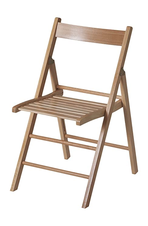 Eurosilla Bas - Silla plegable de madera para uso interior, 76 x 44 x 52 cm. Color marrón acabado natural y calidad superior
