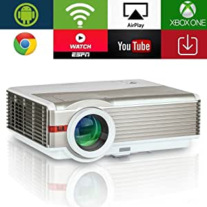 5000 Lumen High Resolution Wifi Android Projector with Zoom WXGA HD Home Theater Outdoor HDMI 1080P Support Ceiling Rear Projection Smart Wireless ...
