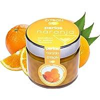 Perlas naranja para cóctel. Fruta concentrada en perlas