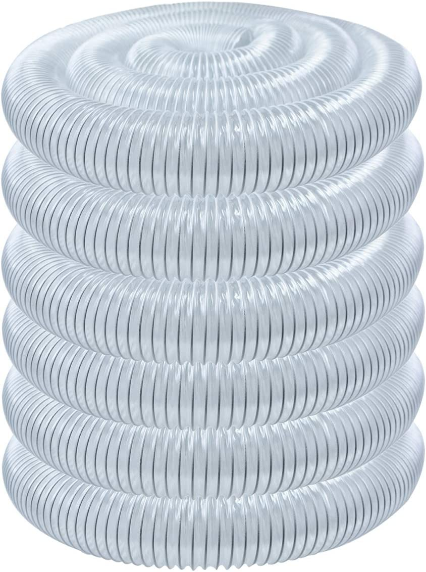 POWERTEC 70240 PVC Dust Collection Hose (2-1/2 Inch x 50 Feet) | Flexible Clear Vue Heavy Duty PVC Hose