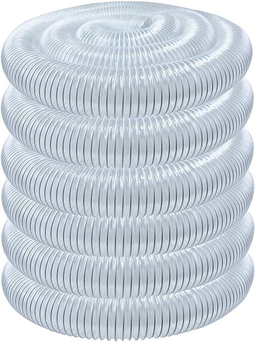 POWERTEC 70144 2-1//2-Inch x 20-Foot Flexible PVC Dust Collection Hose Clear Color