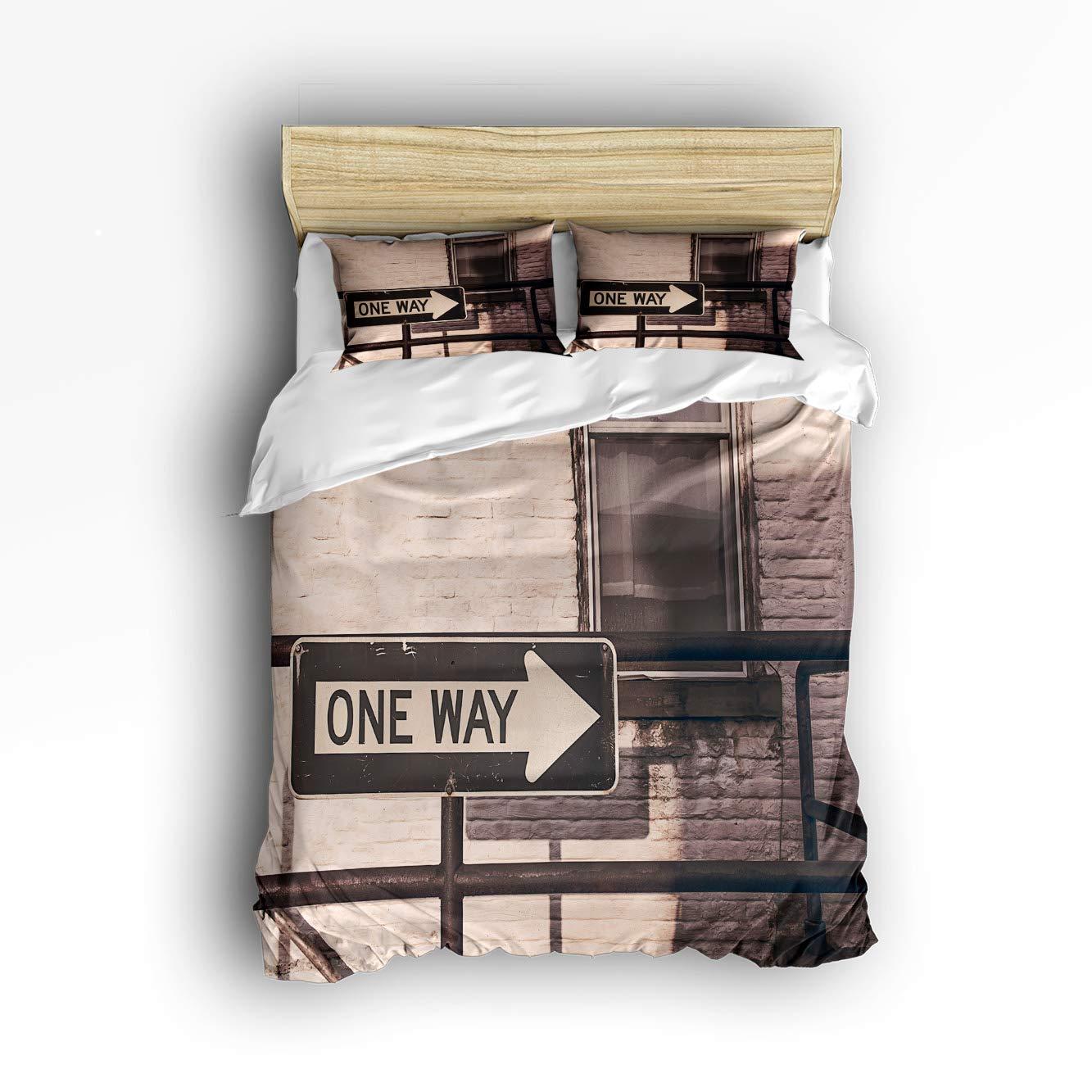 DCGARING 3 Piece Duvet Cover Bedding Set- Nostalgic Signpost Railing Brick Wall Window Retro -Ultra Comfy,Breathable,Zipper Closure(1 Duvet Cover+2 Pillow Shams) Twin