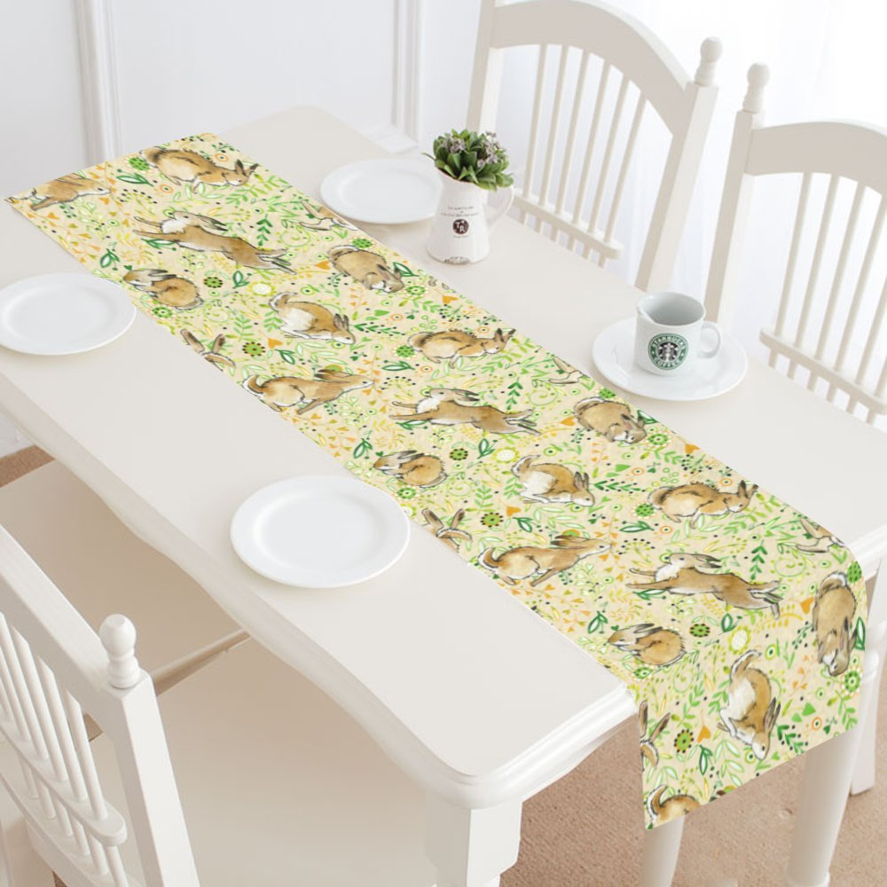 InterestPrint Cute Bunny Rabbit Funny Animal Table Runner Cotton Linen Cloth Placemat for Office Kitchen Dining Wedding Party Banquet 16 x 72 Inches