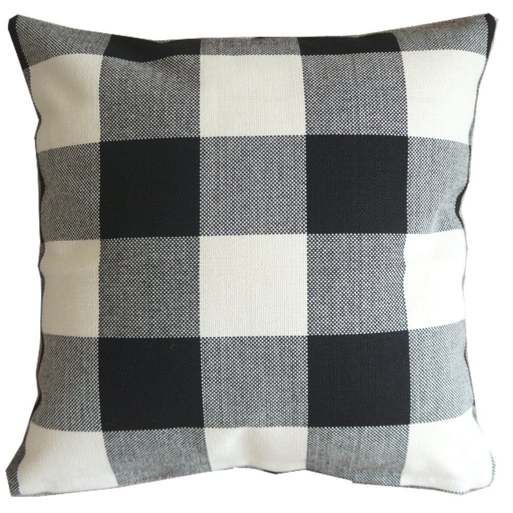 amazoncom black white checkers plaids throw pillow case sham decor cushion covers square 18x18 inch linen home u0026 kitchen