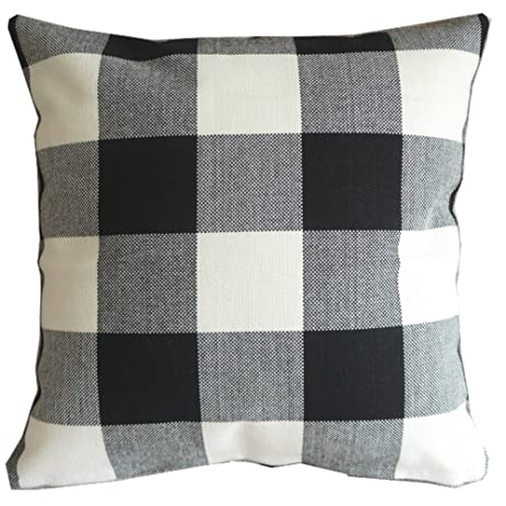 Amazon Black White Checkers Plaids Throw Pillow Case Sham