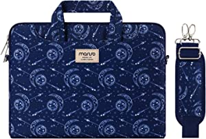 MOSISO Laptop Shoulder Bag Compatible with 13-13.3 inch MacBook Pro, MacBook Air, Notebook Computer, Pattern Briefcase Sleeve with Trolley Belt, Sun & Moon Navy Blue Base