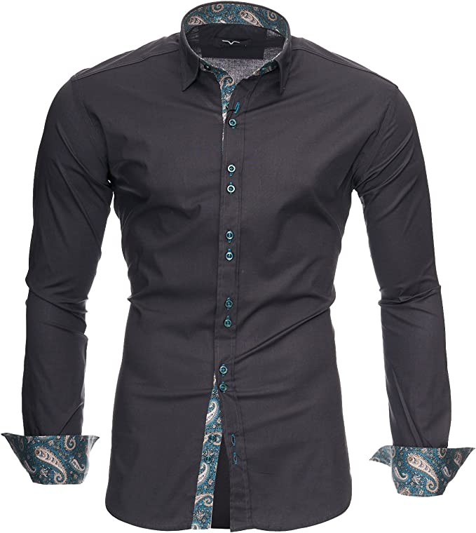Kayhan Hombre Camisa Manga Larga Slim Fit S - 6XL Modello Royal: Amazon.es: Ropa y accesorios
