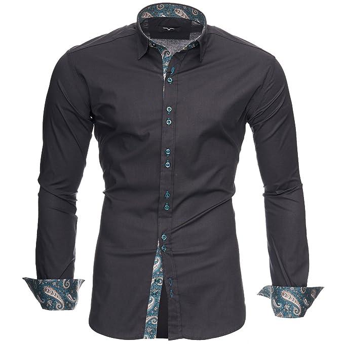 super popular 19e53 a81c1 Kayhan Royal Paisley Herren-Hemd Slim-Fit Langarm-Hemden S-6XL