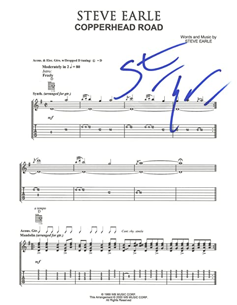Copperhead Road Sheet Music Erkalnathandedecker
