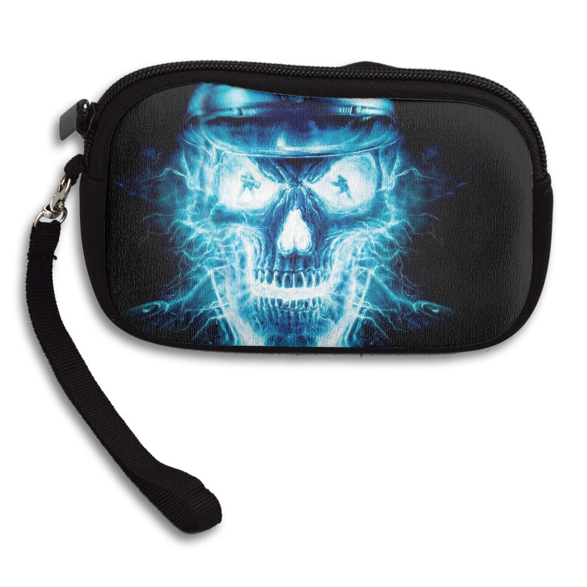 Blue Flaming Skull Coin Pouch Clutch Purse Wristlet Wallet Phone Card Holder Handbag