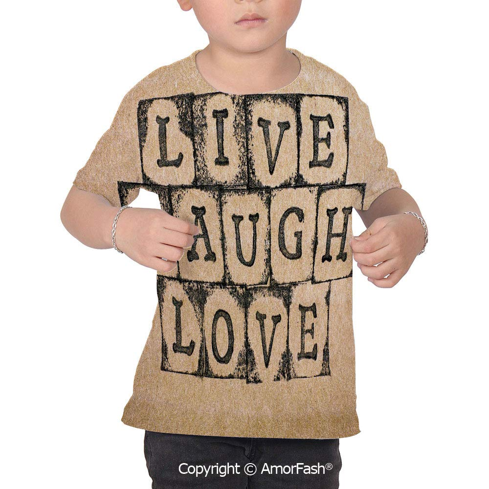 Live Laugh Love Decor Colorful Boys and Girls Soft Short Sleeve T-Shirt,Black Al