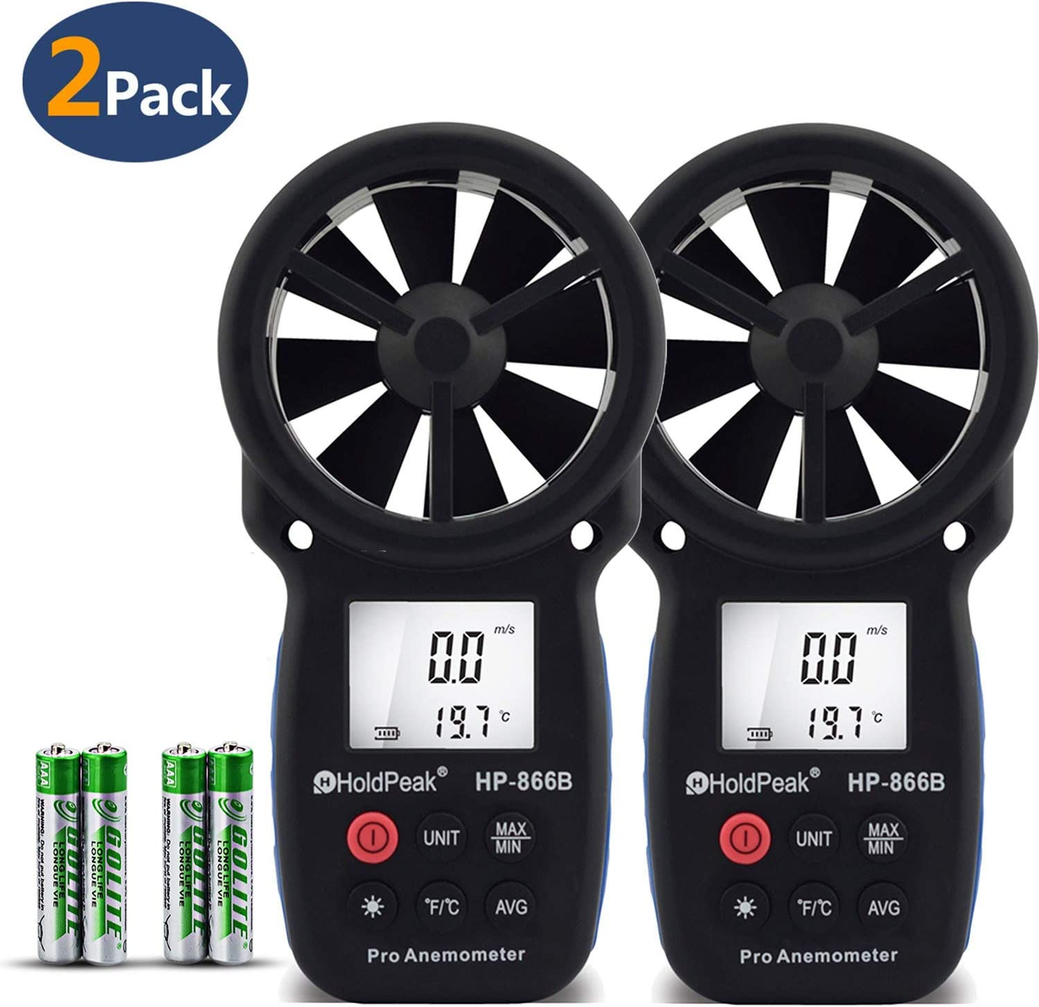 Holdpeak HP-866B 2Pcs Digital Anemometer Handheld LCD Wind Speed Meter Measuring Wind Speed, Temperature Wind Chill Backlight Max/Min Data